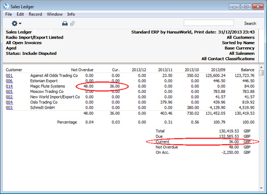 HansaWorld Integrated ERP And CRM - Open invoice statement