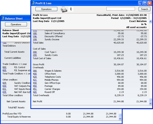 HansaWorld Integrated ERP and CRM – Profit and Loss Report Sample