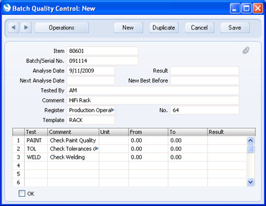 The New Batch Quality Control Record Will Be Opened In A Window Entitled This Means That It Has Not Yet Been Saved